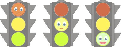 Set of traffic lights with smiles Royalty Free Stock Photography