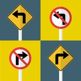 set traffic sign,Do not turn left,right turn ahead stock illustration