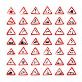 Set of 42 traffic signs sketch for your design vector illustration
