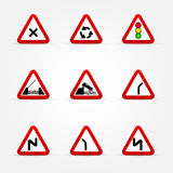 Set of traffic signs - warnings Stock Image