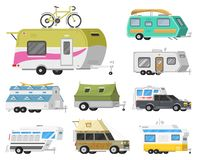 A set of trailers or family RV camping caravan. Tourist bus and tent for outdoor recreation and travel. Mobile home. Truck. Suv Car Crossover. Tourist transport stock illustration