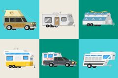 A set of trailers or family RV camping caravan. Tourist bus and tent for outdoor recreation and travel. Mobile home vector illustration
