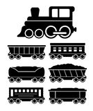 Set train cars for travel or cargo delivery Royalty Free Stock Photos
