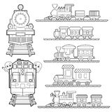 Set of Train cartoon , train travel with kids and friend coloring page for toddler vector Royalty Free Stock Images