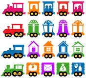 Set train - delivery services icons. Set colorful train with many coach - delivery services icons Royalty Free Stock Photography