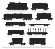 Set of train with freight wagons. Royalty Free Stock Images