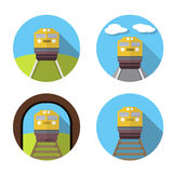 Set of train icon in flat Stock Image