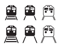 Set of train icon in silhouette Stock Photos