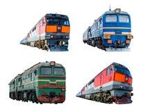 Set of train locomotives isolated on white background. Set of train locomotives isolated on white background Royalty Free Stock Photo