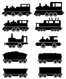 Set train and railroad car stock illustration