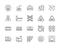 Set of Train and Railways Line Icons. Funicular, Subway Map, Locomotive and more vector illustration