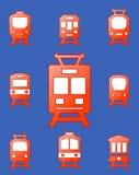 Set trains on blue background Royalty Free Stock Photo