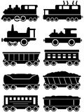 Set trains with freight and passenger car for rail way Royalty Free Stock Image