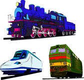 Set of trains vector illustration. Steam train, speed express and locomotive. Royalty Free Stock Photography
