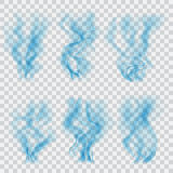 Set of translucent blue smoke. Transparency only in vector forma Stock Image