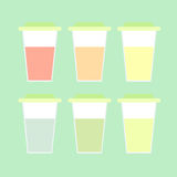 A set of translucent closed glasses with colorful lemonade. Royalty Free Stock Photos