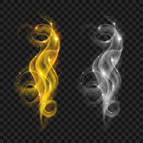 Set of translucent gray and yellow smoke. With sparkles. Transparency only in vector file Royalty Free Stock Image