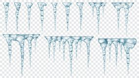 Set of translucent icicles Royalty Free Stock Photo