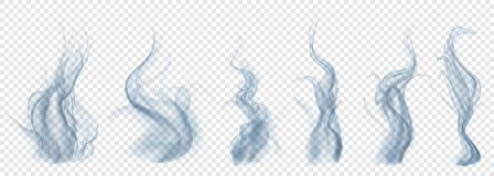 Set of translucent light blue smoke. On transparent background. For used on light backgrounds. Transparency only in vector format Royalty Free Stock Images