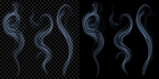 Set of translucent light blue smoke. Transparency only in vector. Set of translucent light blue smoke on transparent and black background. Transparency only in Stock Images