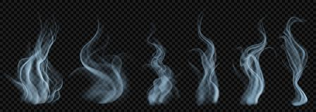 Set of translucent light blue smoke. On transparent background. For used on dark backgrounds. Transparency only in vector format Royalty Free Stock Photo