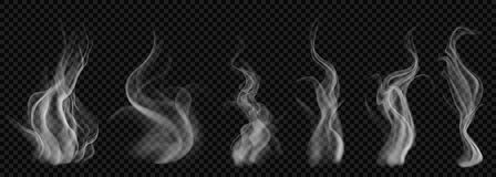 Set of translucent white smoke. On transparent background. For used on dark backgrounds. Transparency only in vector format Stock Photography