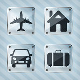 Set of transparency travel pointer icons Royalty Free Stock Image
