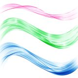 A set of transparent abstract waves of blue, green and pink. The design element. royalty free illustration