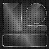 Set of transparent blank glass panels. Set of glossy shiny glass banner panels on metal dotted background. Glossy blank transparent plates for your design stock illustration