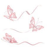 Set of transparent butterflies Royalty Free Stock Images