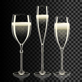 Set of transparent champagne glasses with sparkles Stock Photo