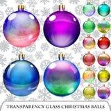 Set of transparent Christmas balls Stock Photography