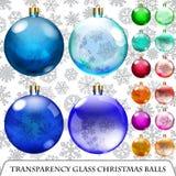 Set of transparent Christmas balls Royalty Free Stock Photo