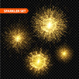 Set of transparent Christmas sparkler. Vector Royalty Free Stock Image