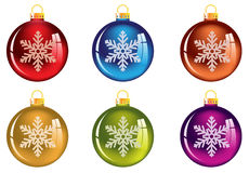 Set of transparent Christmas tree decorations Stock Images