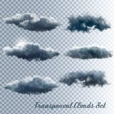 Set of transparent clouds. Set of transparent stormy clouds. Vector