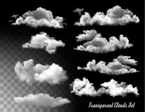 Set of transparent clouds. Royalty Free Stock Photos