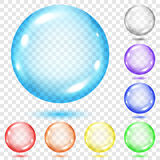 Set of transparent colored spheres. With shadows on transparent background. Transparency only in vector file Stock Photography