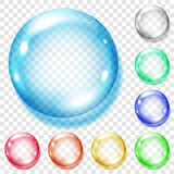 Set of transparent colored spheres. With shadows on transparent background. Transparency only in vector file Stock Photos