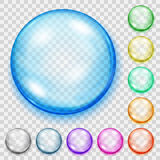 Set of transparent colored spheres with shadows Royalty Free Stock Photos