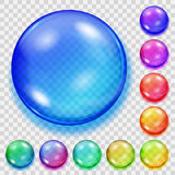 Set of transparent colored spheres with shadows Royalty Free Stock Photo