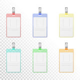 Set of transparent colorful vertical identification cards Stock Images