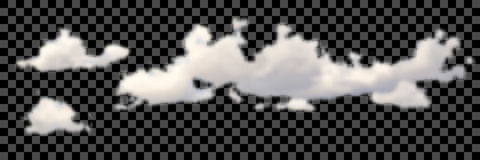 Set of transparent different clouds on black Vector. Royalty Free Stock Photography