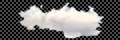 Set of transparent different clouds on black Vector. Royalty Free Stock Images