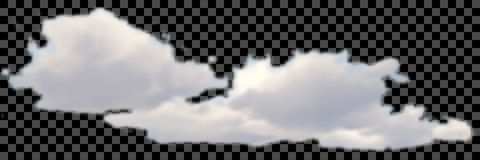 Set of transparent different clouds on black Vector. Royalty Free Stock Photos