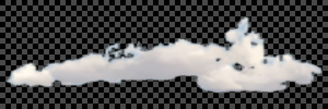 Set of transparent different clouds on black Vector. Royalty Free Stock Image