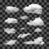 Set of transparent different clouds. Royalty Free Stock Images