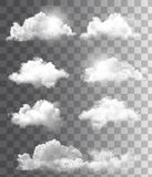 Set of transparent different clouds. Stock Images