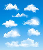 Set of transparent different clouds. Royalty Free Stock Image