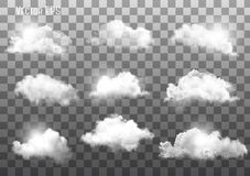 Set of transparent different clouds.